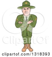 Clipart Of A Cartoon Caucasian Male Army Sergeant With Folded Arms Looking Stern Royalty Free Vector Illustration by LaffToon