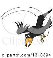 Clipart Of A Cartoon Black Crow Swooping Down Royalty Free Vector Illustration by LaffToon
