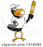 Cartoon Casual Black Crow Mascot Holding A Corn Dog