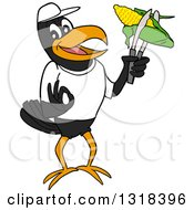 Cartoon Casual Black Crow Mascot Holding Corn On The Cob In Tongs