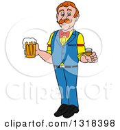 Clipart Of A Cartoon White Male Bartender Holding A Shot Glass And Beer Mug Royalty Free Vector Illustration by LaffToon