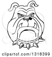 Clipart Of A Cartoon Black And White Angry Bulldog Face With A Spiked Collar Royalty Free Vector Illustration by LaffToon