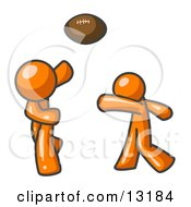 Orange Men Playing Football Clipart Illustration