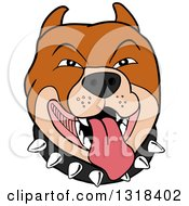 Clipart Of A Cartoon Panting Pitbull Face With A Spiked Collar Royalty Free Vector Illustration