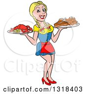 Clipart Of A Cartoon Blond White Female Waitress Serving Lobster Steak And Shrimp Royalty Free Vector Illustration by LaffToon