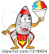 Clipart Of A Cartoon Rocket Character Holding A Shaved Ice Cone Royalty Free Vector Illustration