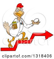 Cartoon Scientist Chicken Holding An Egg And Feed And Walking Up Arrow Steps