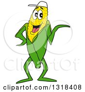 Cartoon Corn Mascot Waving Or Presenting