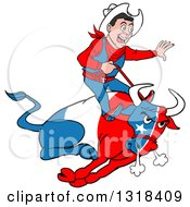Clipart Of A Cartoon Rodeo Cowboy Riding A Charging Angy Texan Flag Bull Royalty Free Vector Illustration by LaffToon