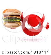 Clipart Of A 3d Red Devil Head Giving A Thumb Up And Holding A Double Cheeseburger Royalty Free Illustration