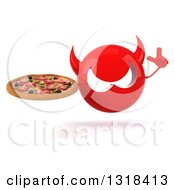 Clipart Of A 3d Red Devil Head Holding Up A Finger And A Pizza Royalty Free Illustration
