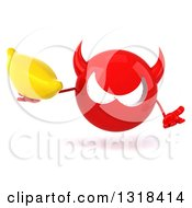 Clipart Of A 3d Red Devil Head Shrugging And Holding A Banana Royalty Free Illustration