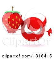Clipart Of A 3d Red Devil Head Giving A Thumb Down And Holding A Strawberry Royalty Free Illustration