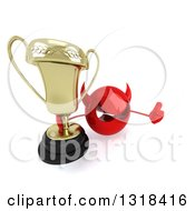 Clipart Of A 3d Red Devil Head Holding Up A Thumb And A Trophy Royalty Free Illustration