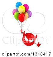 Clipart Of A 3d Red Devil Head Floating With Party Balloons Royalty Free Illustration