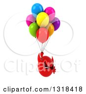 Clipart Of A 3d Red Devil Head Facing Right Floating With Party Balloons Royalty Free Illustration