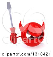 Clipart Of A 3d Red Devil Head Holding Up A Screwdriver Royalty Free Illustration