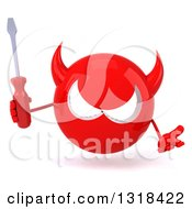 Clipart Of A 3d Red Devil Head Shrugging And Holding A Screwdriver Royalty Free Illustration