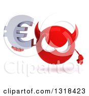 Clipart Of A 3d Red Devil Head Holding A Euro Symbol Royalty Free Illustration
