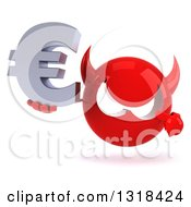 Clipart Of A 3d Red Devil Head Holding And Pointing To A Euro Symbol Royalty Free Illustration