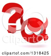 Clipart Of A 3d Red Devil Head Holding And Pointing To A Question Mark Royalty Free Illustration