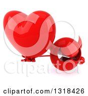 Clipart Of A 3d Red Devil Head Holding Up A Heart Royalty Free Illustration