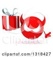 Clipart Of A 3d Red Devil Head Shrugging And Holding A Gift Royalty Free Illustration