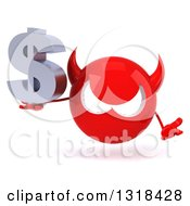 Clipart Of A 3d Red Devil Head Shrugging And Holding A Dollar Symbol Royalty Free Illustration