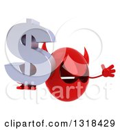 Clipart Of A 3d Red Devil Head Holding A Dollar Symbol Facing Right And Jumping Royalty Free Illustration