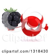 Clipart Of A 3d Red Devil Head Holding A Blackberry And Thumb Up Royalty Free Illustration