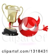 Clipart Of A 3d Red Devil Head Holding A Trophy And Jumping Royalty Free Illustration