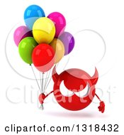 Clipart Of A 3d Red Devil Head Holding Party Balloons Royalty Free Illustration