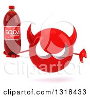 Clipart Of A 3d Red Devil Head Giving A Thumb Down And Holding A Soda Bottle Royalty Free Illustration