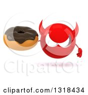 Clipart Of A 3d Red Devil Head Holding A Chocolate Glazed Donut Royalty Free Illustration