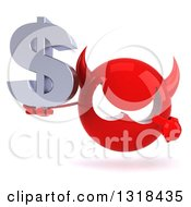 Clipart Of A 3d Red Devil Head Holding And Pointing To A Dollar Symbol Royalty Free Illustration