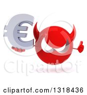 Clipart Of A 3d Red Devil Head Giving A Thumb Up And Holding A Euro Symbol Royalty Free Illustration