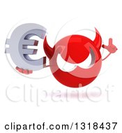 Clipart Of A 3d Red Devil Head Holding Up A Finger And A Euro Symbol Royalty Free Illustration
