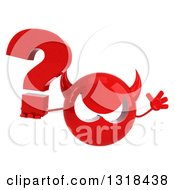 Clipart Of A 3d Red Devil Head Jumping And Holding A Question Mark Royalty Free Illustration
