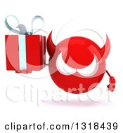 Clipart Of A 3d Red Devil Head Holding A Gift Royalty Free Illustration