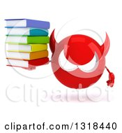 Clipart Of A 3d Red Devil Head Holding A Stack Of Books Royalty Free Illustration