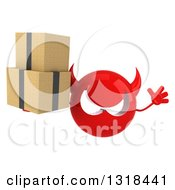 Clipart Of A 3d Red Devil Head Jumping And Holding Boxes Royalty Free Illustration