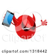 Clipart Of A 3d Red Devil Head Jumping Facing Right And Holding A Smart Phone Royalty Free Illustration