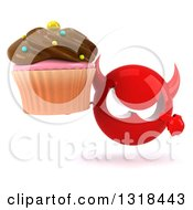 Clipart Of A 3d Red Devil Head Holding And Pointing To A Chocolate Frosted Cupcake Royalty Free Illustration