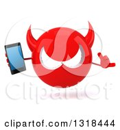 Clipart Of A 3d Red Devil Head Holding A Smart Phone And Gesturing Call Me Royalty Free Illustration