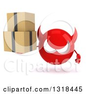 Clipart Of A 3d Red Devil Head Holding Boxes Royalty Free Illustration