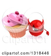 Clipart Of A 3d Red Devil Head Holding Up A Pink Frosted Cupcake Royalty Free Illustration