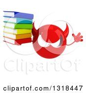 Clipart Of A 3d Red Devil Head Holding A Stack Of Books And Jumping Royalty Free Illustration