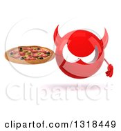 Clipart Of A 3d Red Devil Head Holding A Pizza Royalty Free Illustration