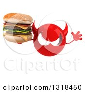 Clipart Of A 3d Red Devil Head Holding A Double Cheeseburger And Jumping Royalty Free Illustration