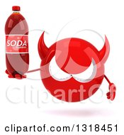Clipart Of A 3d Red Devil Head Holding A Soda Bottle Royalty Free Illustration